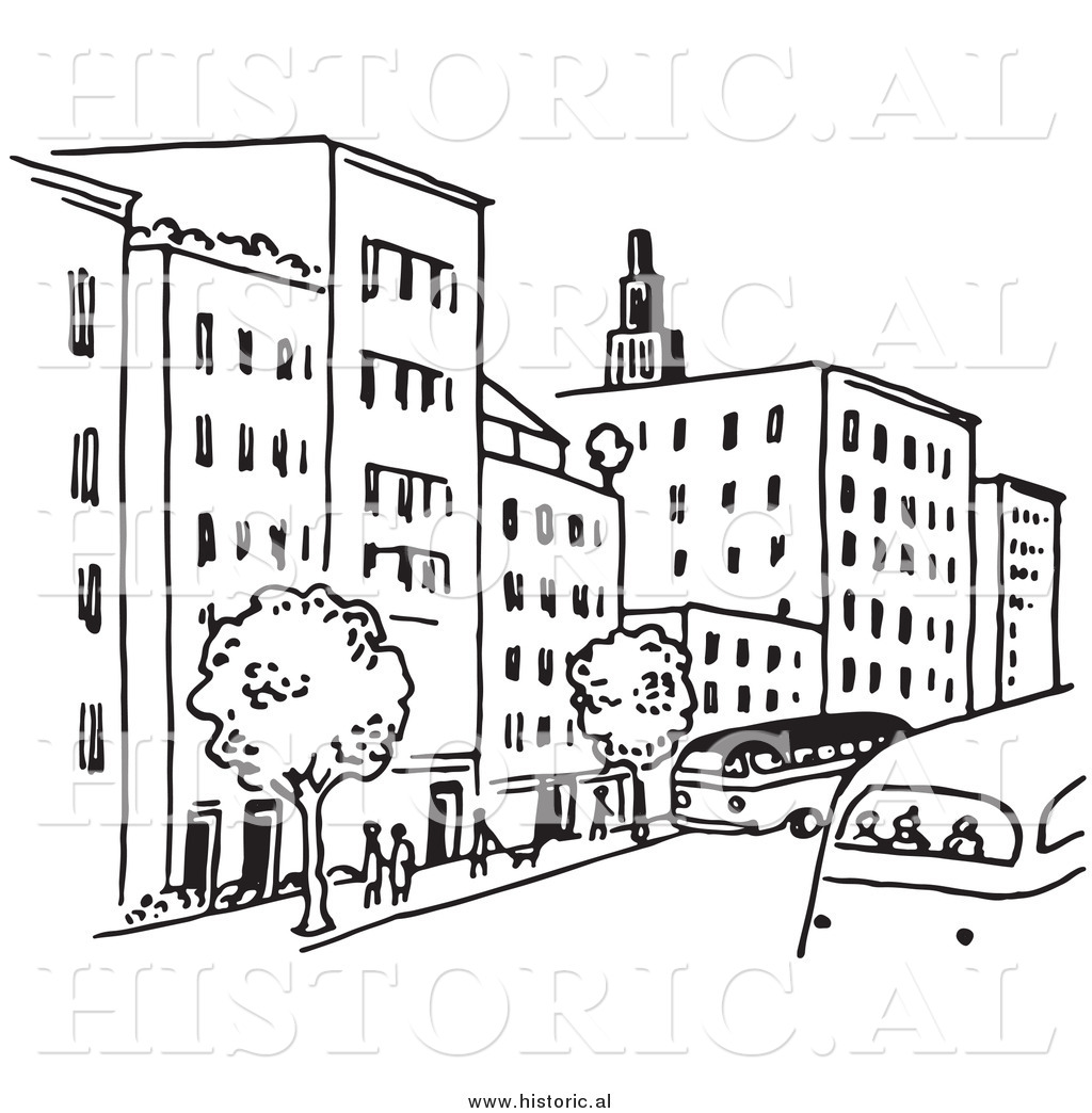 Clipart of a City Street with Buildings, Trees, People ...