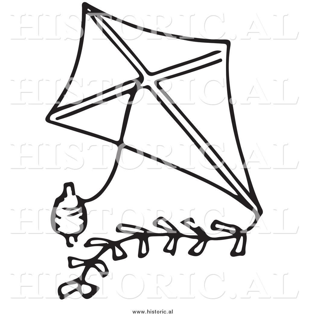 clipart black and white kite - photo #19