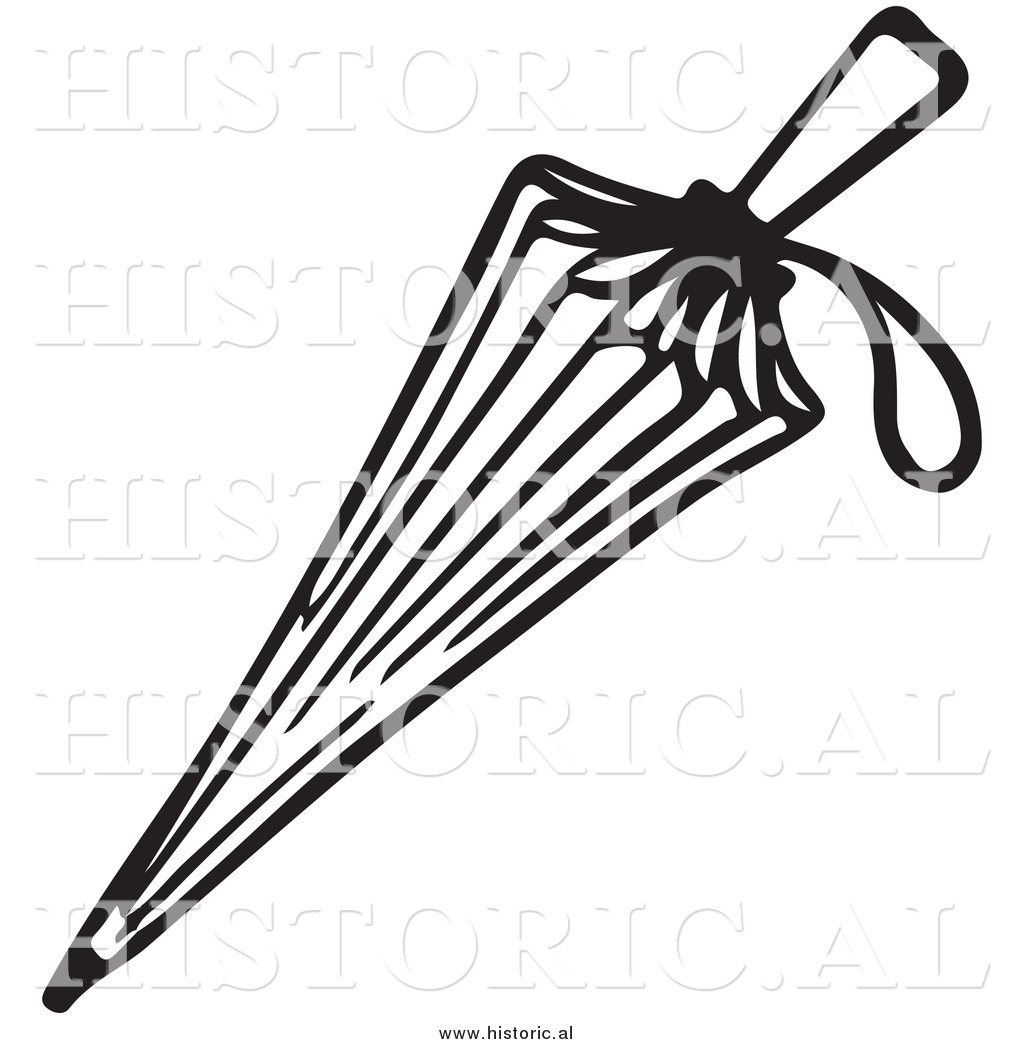 Line Drawing Umbrella : Clipart of a closed umbrella with string handle black