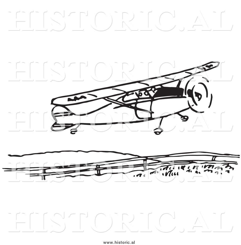 Clipart Of A Compact Airplane Taking Flight Black And White
