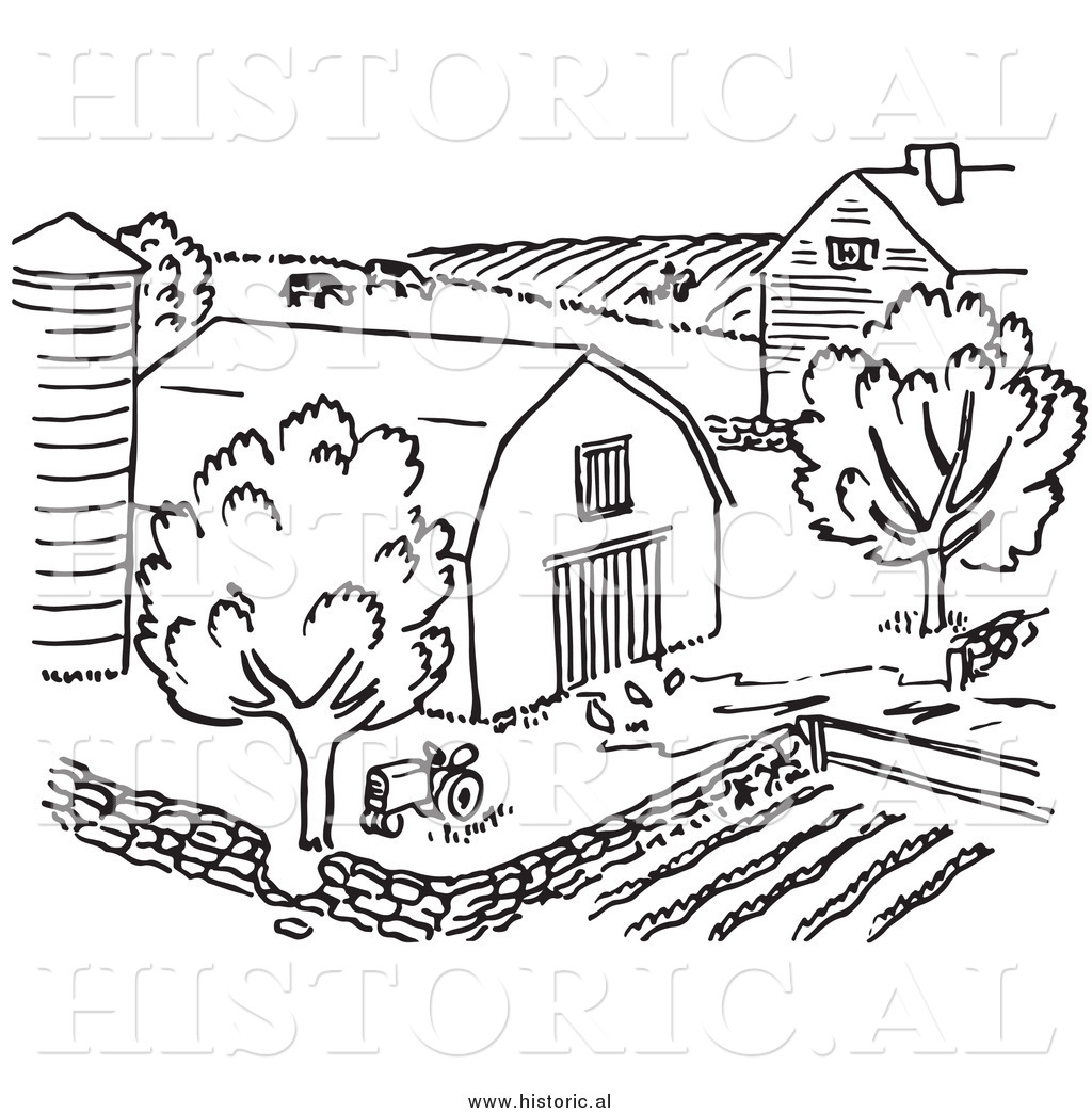 Clipart of a Farm with Barn, Silo, Trees, and Garden - Black and ... for Farmhouse Clipart Black And White  174mzq