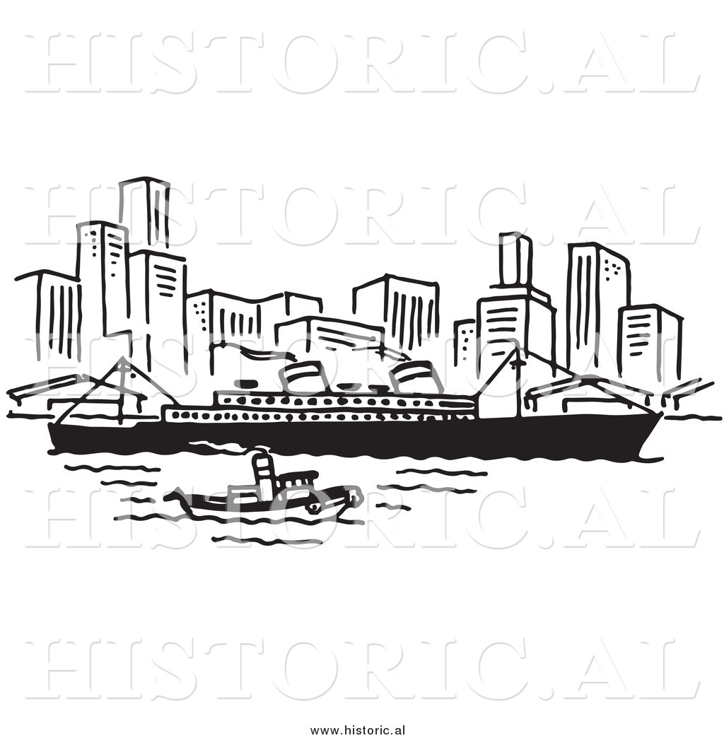 clipart of a ship and boat traveling near a city black and white
