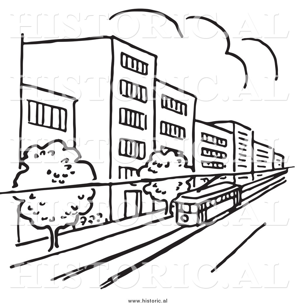 The Line Art And Living : Clipart of a tram traveling through city with buildings