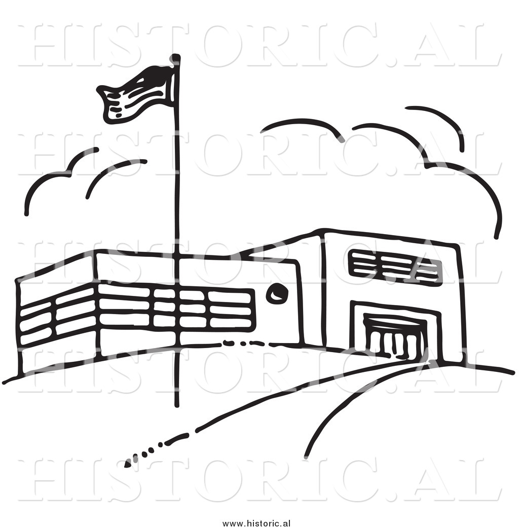 Flag school. Clipart of an american