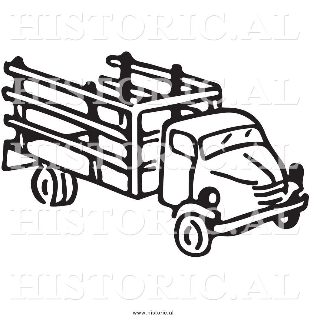 farm fence drawing. clipart of an old farm truck - black and white drawing fence