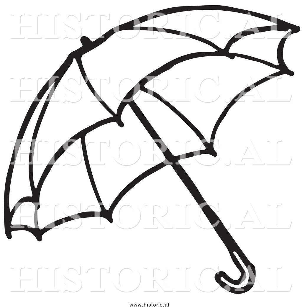 clipart of an opened umbrella black and white outline by