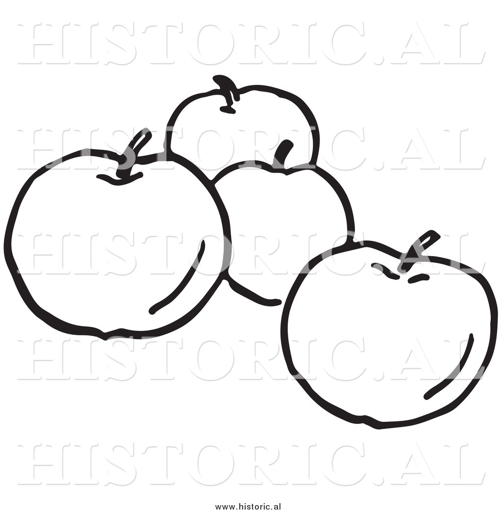 black and white apple tree. clipart of four apples - black and white line art apple tree r