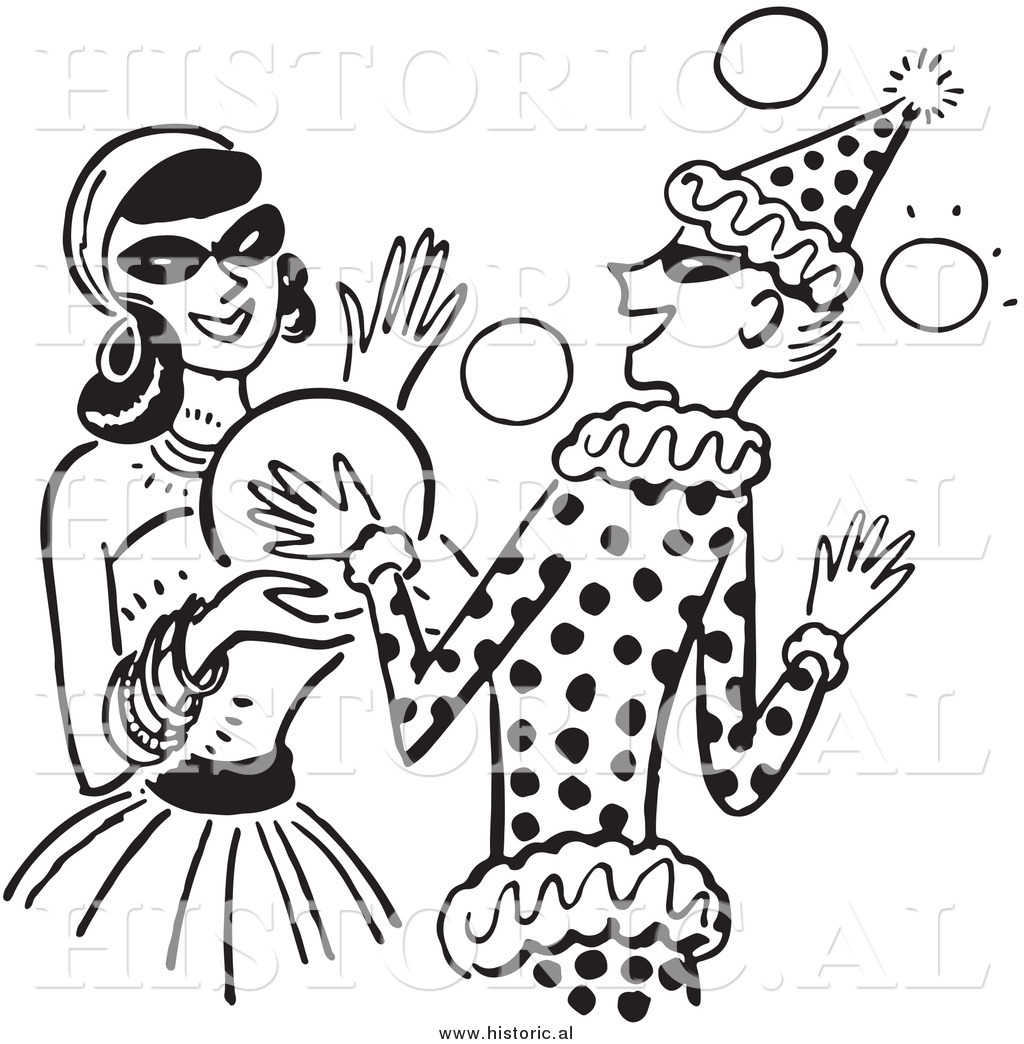 Clipart of Happy Girls Dancing at a Halloween Costume Party ...