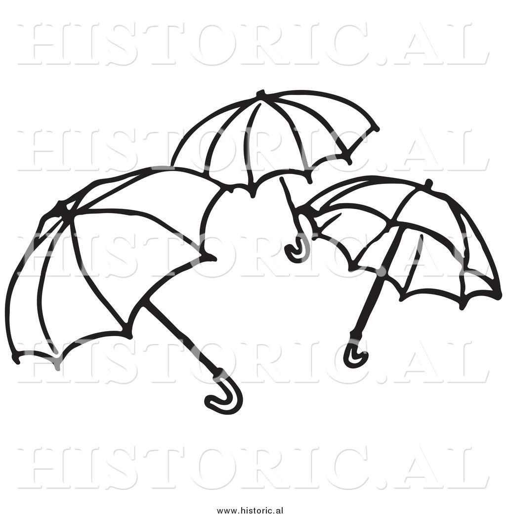 Line Art Umbrella : Clipart of three opened umbrellas black and white