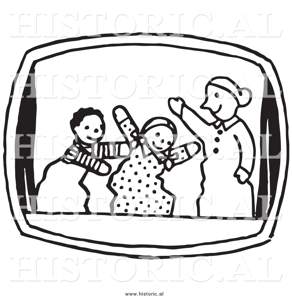 Clipart of Three Puppets Performing in a Show - Black and White ...
