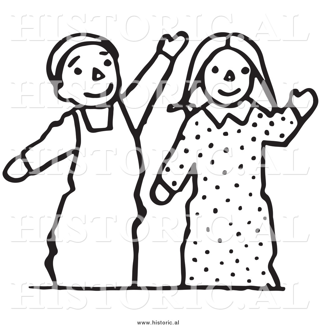 Wave Line Clipart Clipart of Waving Boy And Girl