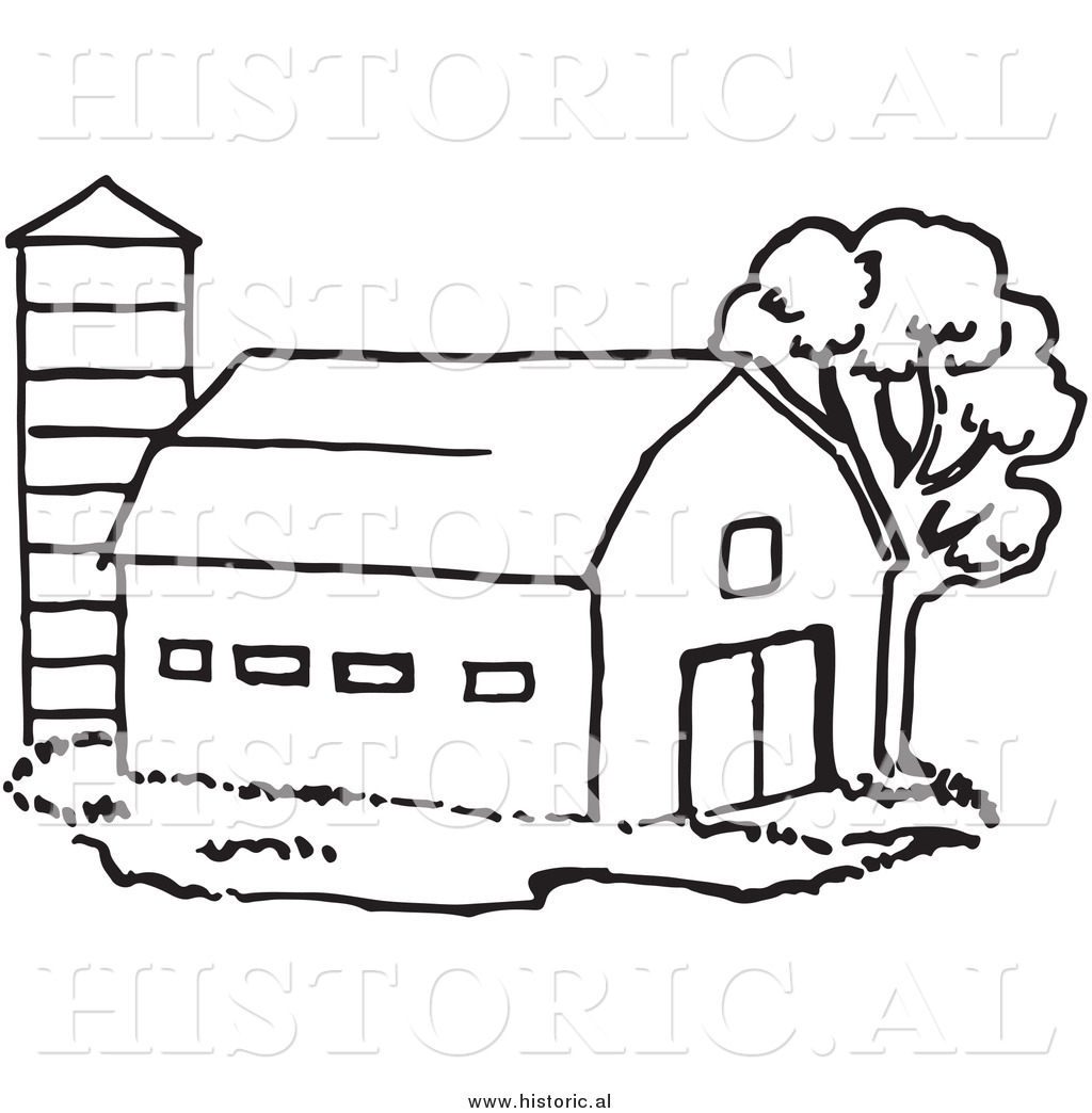 historical clipart of a barn beside silo and tree black and white outline - Barns Coloring Pages Farm Silos