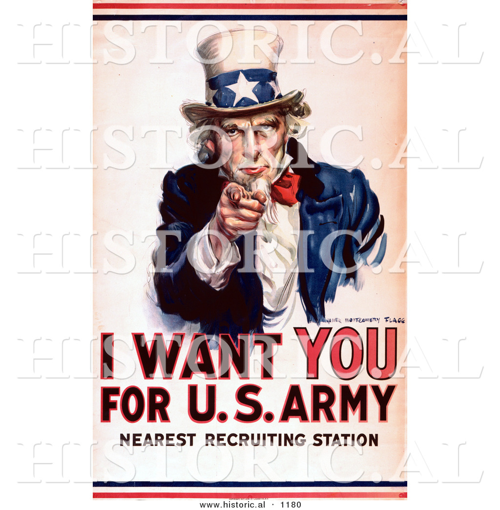 Historical Illustration of I Want You for the US Army - Uncle Sam ...