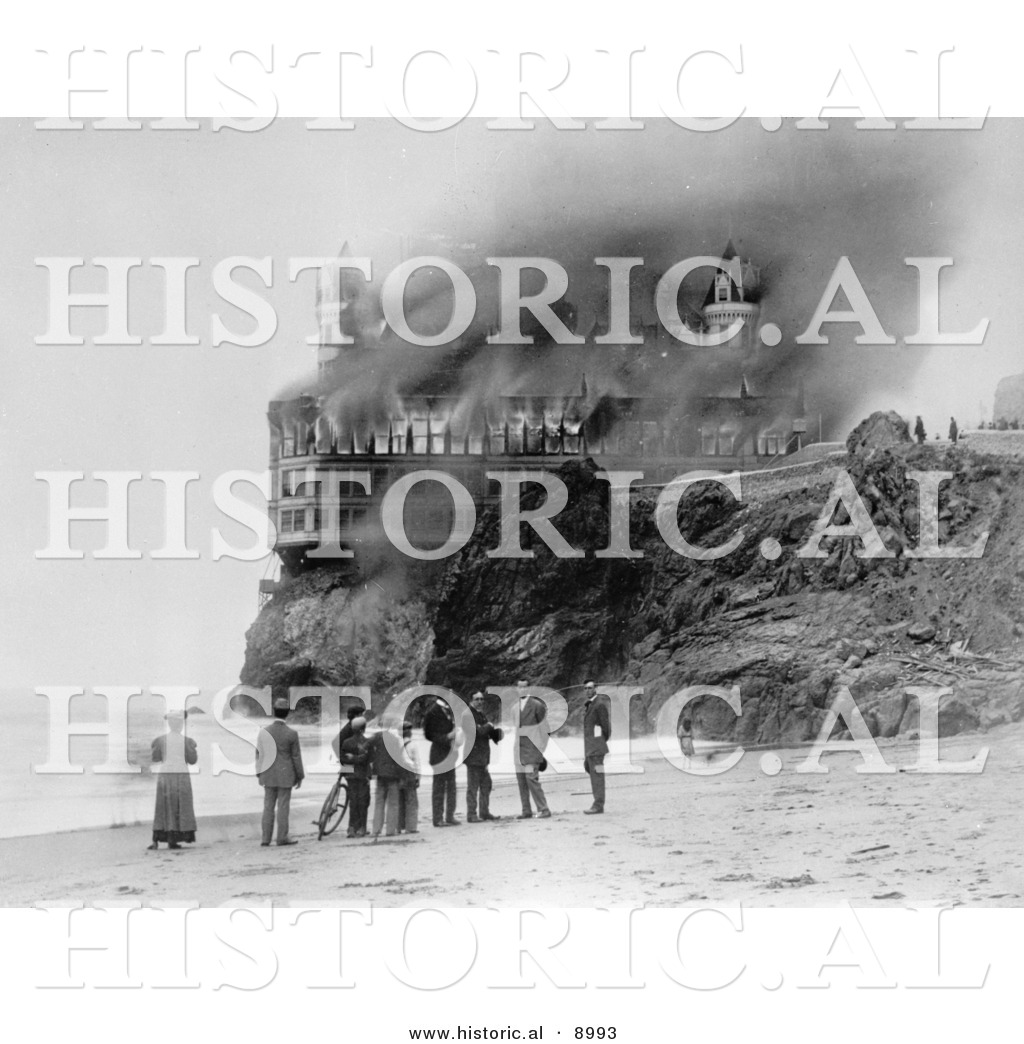 historical photo of people on the beach near the cliff cliff house fire 1966 cliff house fire