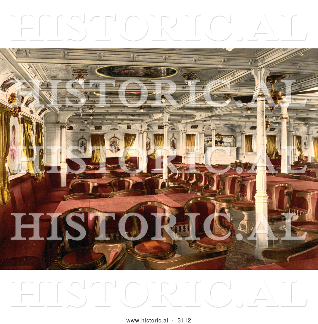 Historical Photochrom Of A First Class Dining Room By JVPD
