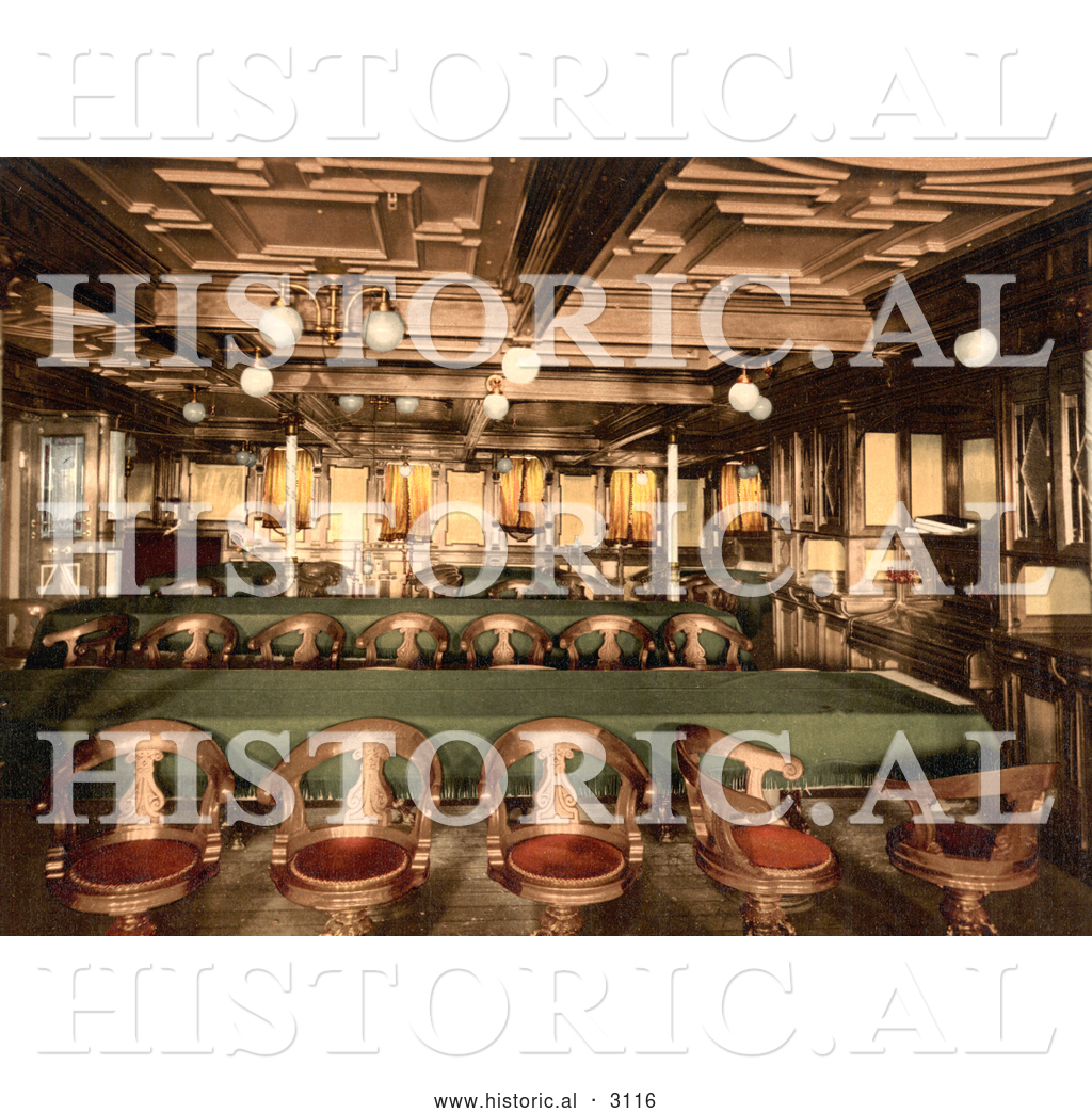 Historical Photochrom Of A Second Class Dining Room By