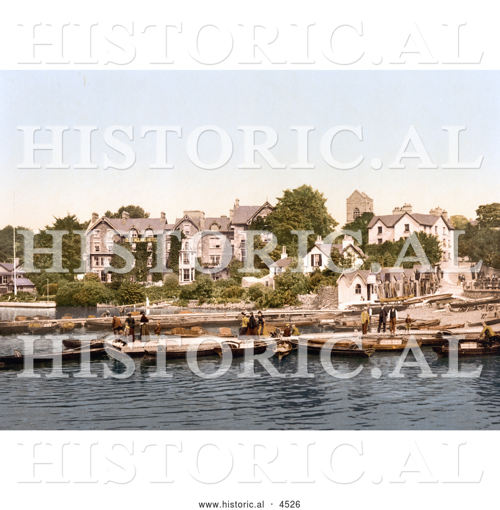 Historical Photochrom Of People On Boats Near The Old