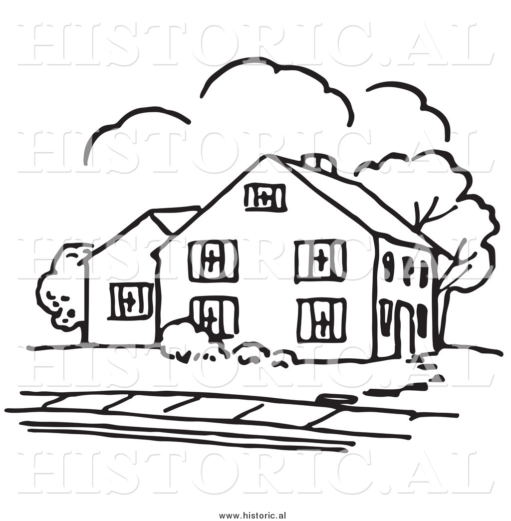 Historical vector clipart of a house outline with trees and a sidewalk