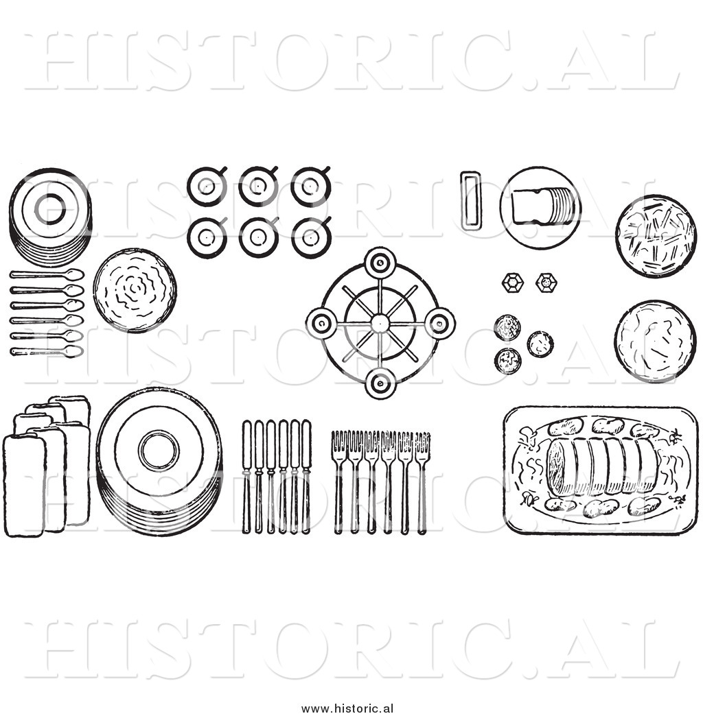 Illustration of a Proper Buffet Dinnerware Table Setting - Black and ...