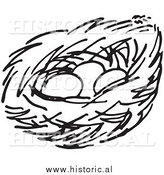 Clipart of a Bird Nest with Three Eggs - Black and White Line Art by Al