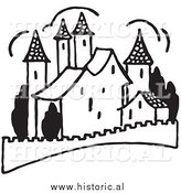 Clipart of a Castle with Fence - Black and White Drawing by Al