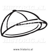 Clipart of a Child's Hat - Black and White Line Drawing by Al