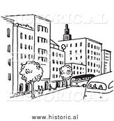 Clipart of a City Street with Buildings, Trees, People, and Buses - Black and White Line Art by Al