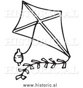 Clipart of a Classic Kite with String - Black and White Drawing by Al