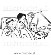 Clipart of a Dad Teaching His Sons How to Fly an Airplane - Black and White Retro Drawing by Al