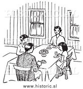Clipart of a Family Eating at Dinner Table - Black and White Retro Drawing by Al