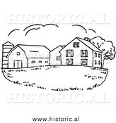 Clipart of a Farm House with Silo and Barn - Black and White Drawing by Al