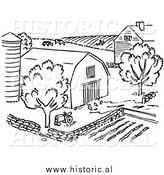 Clipart of a Farm with Barn, Silo, Trees, and Garden - Black and White Line Art by Al
