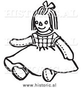 Clipart of a Girl Doll Wearind a Dress - Black and White Line Drawing by Al