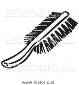Clipart of a Hair Brush - Black and White Line Drawing by Al