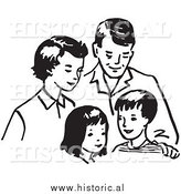 Clipart of a Happy Family Together: Mom, Dad, Daughter, and Son - Black and White Outline by Al