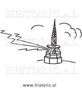 Clipart of a Person Working in an Airport Tower - Black and White Line Drawing by Al