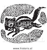 Clipart of a Running Chipmunk - Black and White by Al