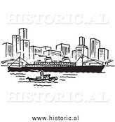 Clipart of a Ship and Boat Traveling near a City - Black and White Line Art by Al