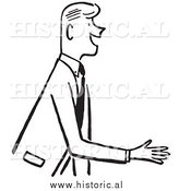 Clipart of a Smiling Businessman Reaching out for Handshake - Black and White Drawing by Al