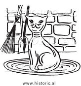 Clipart of a Smiling Cat Beside Fireplace Tools - Black and White Retro Drawing by Al