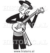 Clipart of a Smiling Man Playing a Banjo - Black and White Drawing by Al