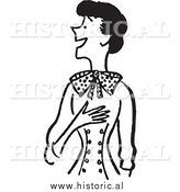 Clipart of a Smiling Woman Touching Her Chest While Looking Surprised - Retro Black and White Design by Al