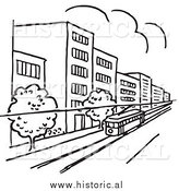 Clipart of a Tram Traveling Through a City with Buildings and Trees - Black and White Line Art by Al