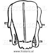 Clipart of a Trussed Duck Ready for Roasting - Black and White Drawing by Al