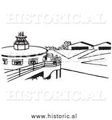 Clipart of an Airport Runway with Hangers - Black and White Retro Drawing by Al