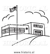 Clipart of an American Flag Beside School Building - Black and White Outline by Al