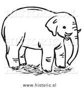 Clipart of an Elephant with Tusks - Black and White Line Art by Al