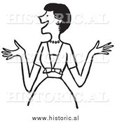 Clipart of an Excited Woman with Big Smile - Retro Black and White Design by Al