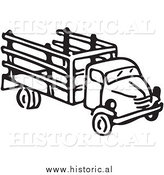 Clipart of an Old Farm Truck - Black and White Drawing by Al