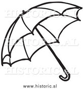 Clipart of an Opened Umbrella - Black and White Outline by Al